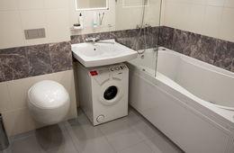 Установка узкой стиральной машины под раковиной Апрелевка